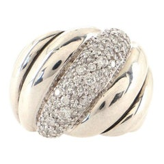 David Yurman Sculpted Cable Dome Ring Sterling Silver with Pave Diamonds