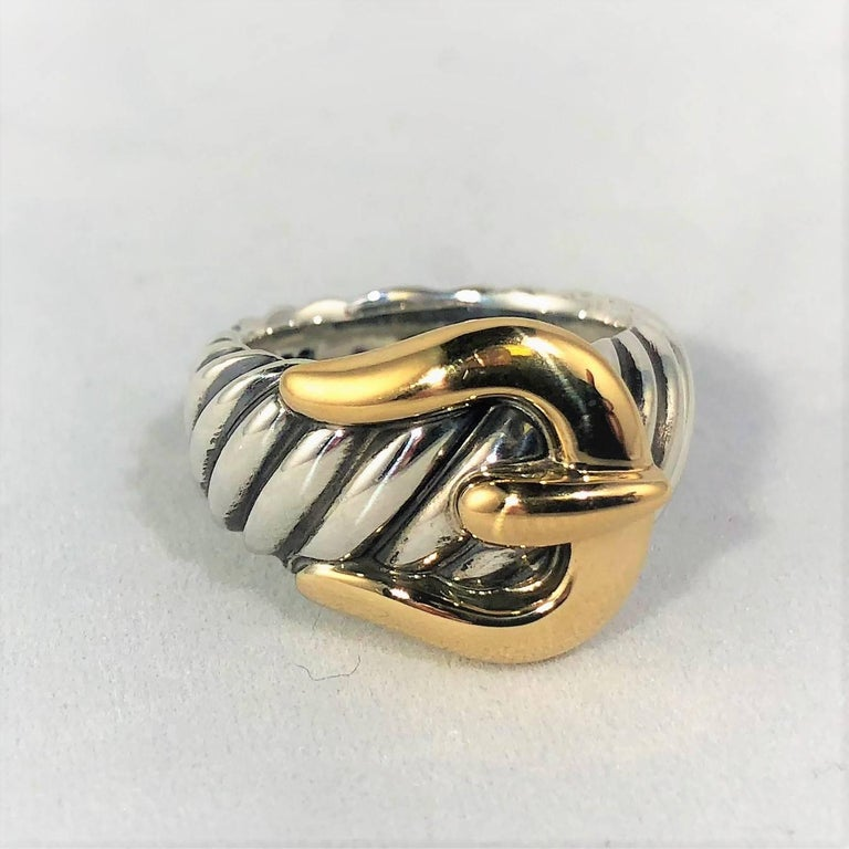 David Yurman Signature Cable Collection Sterling and 18 Karat Gold Ring In Excellent Condition For Sale In Mansfield, OH
