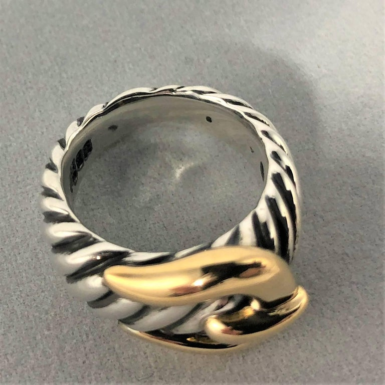 David Yurman Signature Cable Collection Sterling and 18 Karat Gold Ring For Sale 1