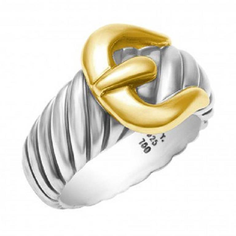 David Yurman Signature Cable Collection Sterling and 18 Karat Gold Ring For Sale