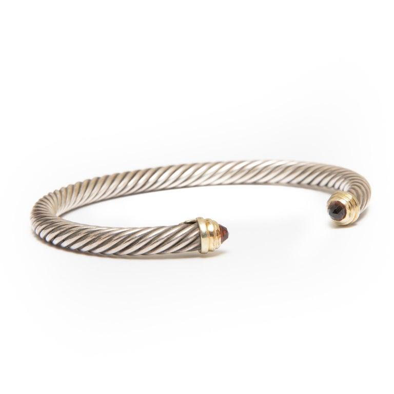 Contemporary David Yurman Signed Waverly Garnet Cable Cuff Bracelet For Sale