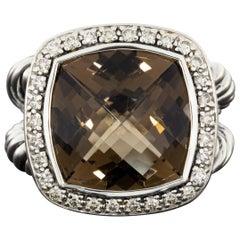 David Yurman Silver 0.30 Carat Cushion Smoky Quartz & Diamond Unique Ladies Ring