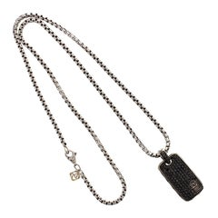 David Yurman Silver and 14 Karat Black Diamond Chevron Dog Tag Chain Necklace