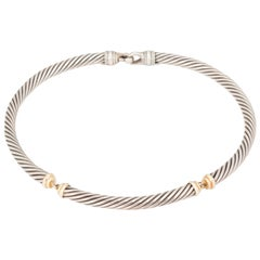David Yurman Silver and 18 Karat Gold Choker Necklace