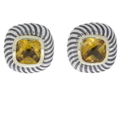 David Yurman Silver and Gold Cushion Citrine Albion Stud Earrings