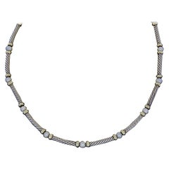 David Yurman Silver and Gold Hampton Cable Pearl Station Choker Necklace