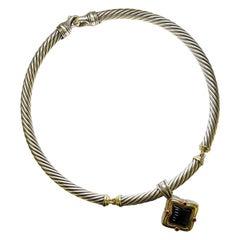 David Yurman Silver and Gold Onyx Garnet Quatrefoil Pendant Necklace