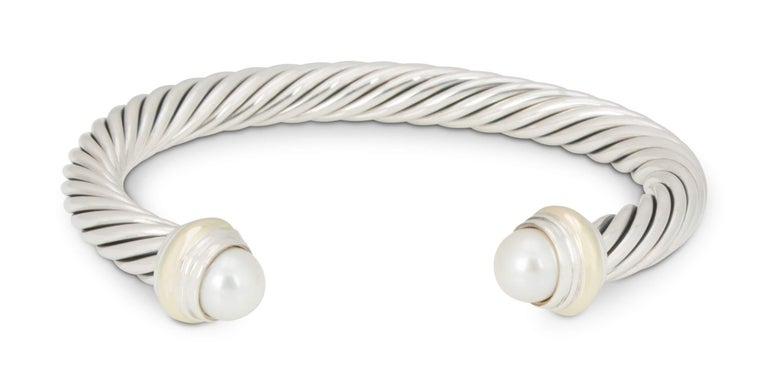 David Yurman Silver and Gold Pearl Cable Bracelet In Excellent Condition For Sale In New York, NY