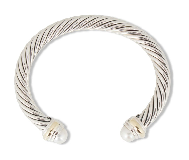 Women's David Yurman Silver and Gold Pearl Cable Bracelet For Sale
