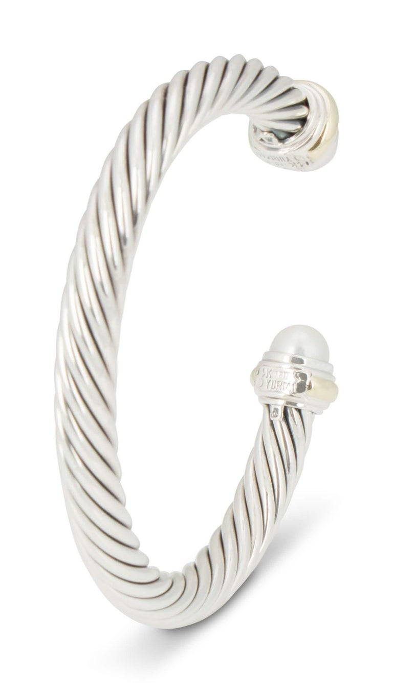 David Yurman Silver and Gold Pearl Cable Bracelet For Sale 1
