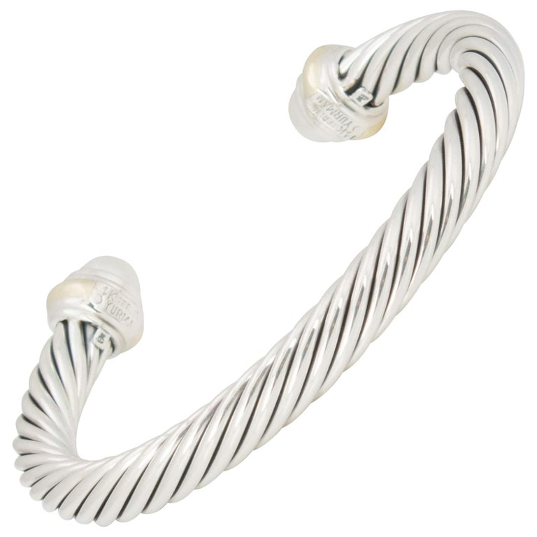 David Yurman Silver and Gold Pearl Cable Bracelet For Sale