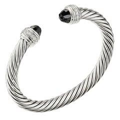 David Yurman Silver Cable Bracelet with Black Onyx & Diamonds B14391DSSABODI