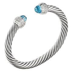 David Yurman Silver Cable Bracelet with Blue Topaz & Diamonds B14391DSSABTDI