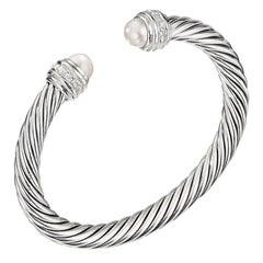 David Yurman Silver Cable Bracelet with Pearls & Diamonds B14391DSSDPEDI