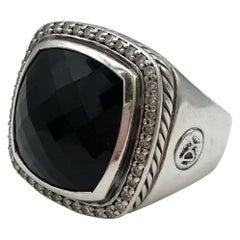 David Yurman Silver Diamond Onyx Albion Ring
