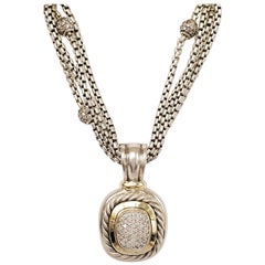 David Yurman Silver Gold and Diamond Pendant Necklace