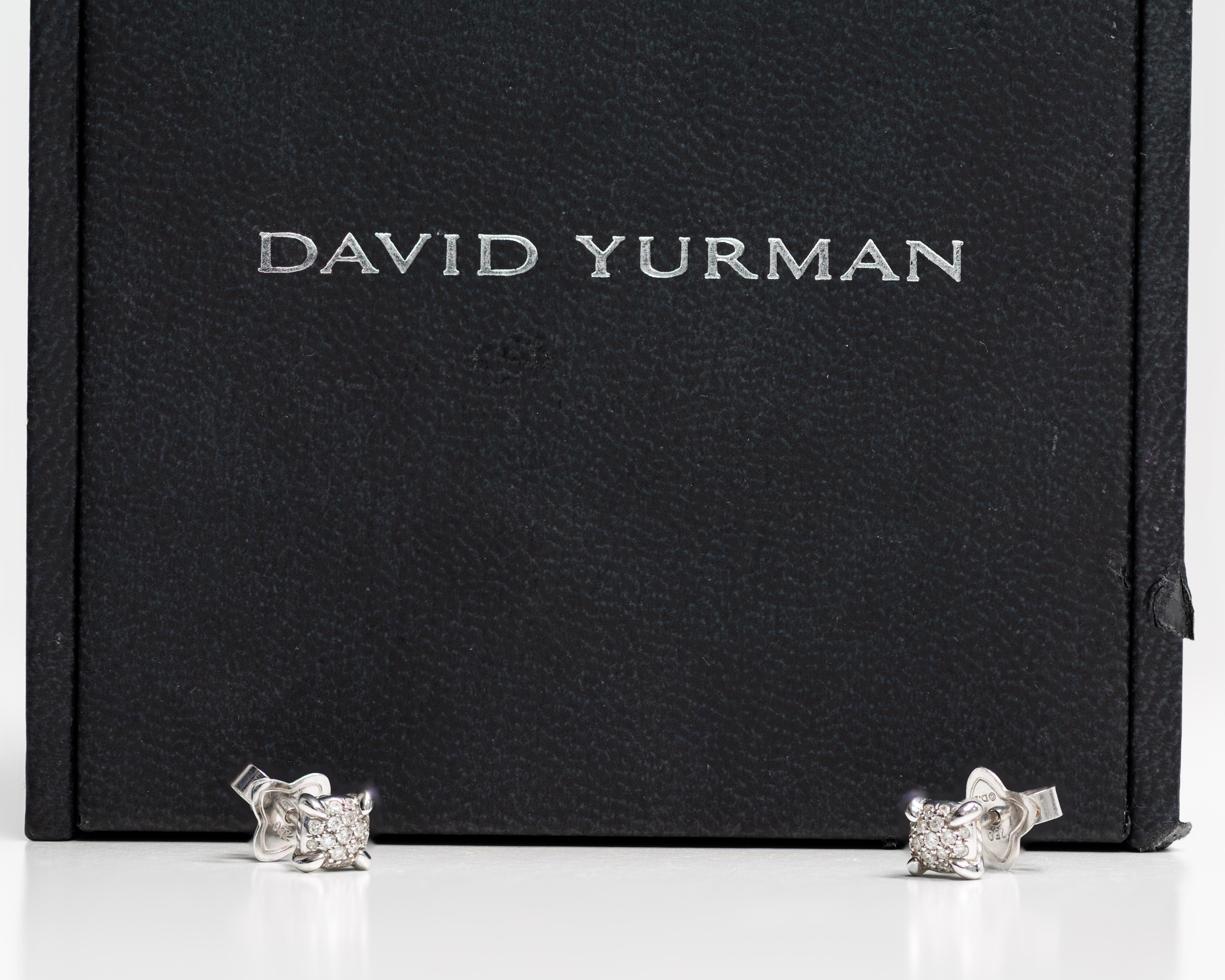 7db1b1a7f22d David Yurman Small Stud Earrings with Diamonds For Sale at 1stdibs