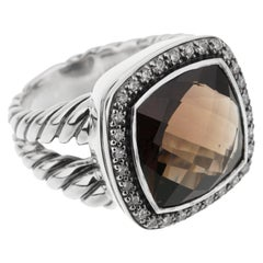 David Yurman Smokey Quartz Diamond Sterling Silver Ring