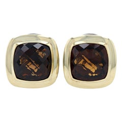 David Yurman Smoky Quartz Albion Earrings Sterling Silver & 18k Yellow Gold