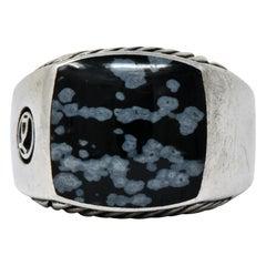 David Yurman Snowflake Obsidian Sterling Silver Men's Exotic Stone Ring
