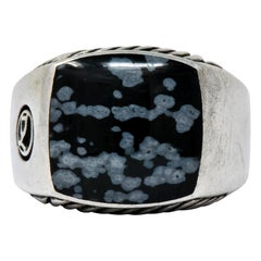 David Yurman Snowflake Obsidian Sterling Silver Men's Exotic Stone Ring