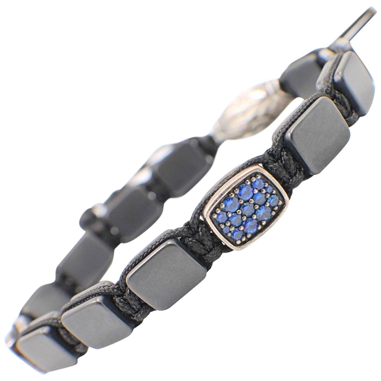 David Yurman Spiritual Beads Sapphires Two Station Tile Bracelet Sterling Silver