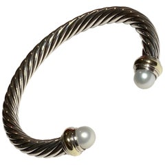 David Yurman SS and 14 Karat Cable Bracelet Pearl Ends
