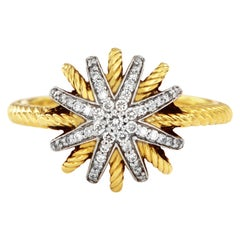 David Yurman Starburst Ring with Diamonds in 18 Karat Gold