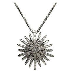 David Yurman Sterling Silver Medium Starburst Diamond Pendant Necklace