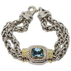 David Yurman Sterling 14 Karat Gold Double Wheat Chain Bracelet with Blue Topaz