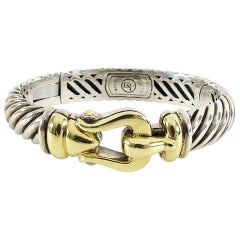 David Yurman Sterling 18k Gold Waverly Buckle Bracelet