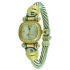 David Yurman Sterling and 18 Karat Gold Cable Bezel Diamond Watch Band