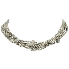 David Yurman Sterling and 18 Karat Multi Strand Diamond Necklace