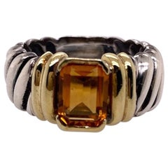 David Yurman Sterling Gold and Citrine Ring