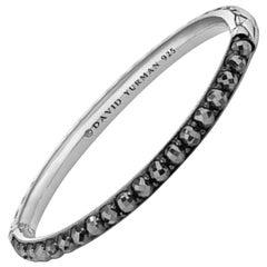 "David Yurman Sterling & Hematite Berries Cable Bangle Bracelet sz 6"" rt. $900"