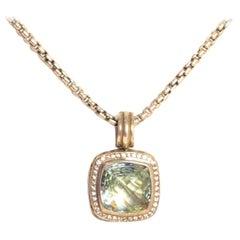David Yurman Sterling Prasiolite & Diamond 14mm Albion Pendant Necklace rt $1550