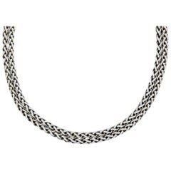 David Yurman Sterling Silver 0.18 Carat Diamond Double Wheat Chain Necklace