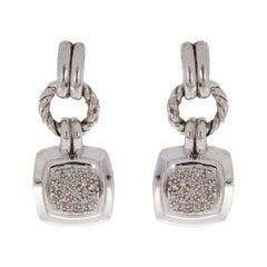 David Yurman Sterling Silver 0.22 Carat Round Diamond Drop/Dangle Earrings