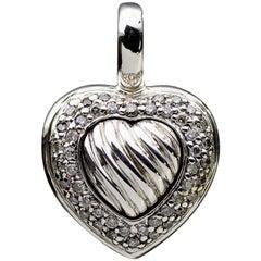 David Yurman Sterling Silver 0.36 Carat Round Diamond Pendant