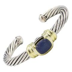 David Yurman Sterling Silver & 14 Karat Gold Chalcedony Cable Cuff Bracelet