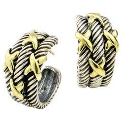 David Yurman Sterling Silver 14 Karat Gold X Cable Classics Hoop Earrings