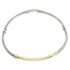 David Yurman Sterling Silver & 14 Karat Yellow Gold Metro Cable Collar Necklace