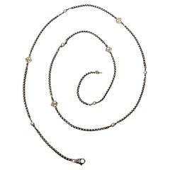 David Yurman Sterling Silver 14K DY Logo Link and Pearl Necklace