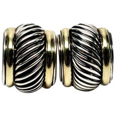 David Yurman Sterling Silver 14 Karat Gold Cable Classics Earrings