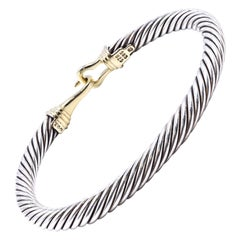 David Yurman Sterling Silver & 14k Yellow Gold Cable Cuff Bracelet/ Buckle Clasp