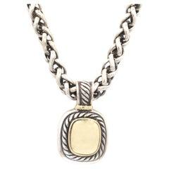 David Yurman Sterling Silver & 14K Yellow Gold Wheat Chain& Cable Albion Pendant