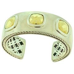 David Yurman Sterling Silver 18 Karat Gold Albion Cushions Cuff Wide Bracelet