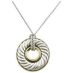 David Yurman Sterling Silver 18 Karat Gold Circle Disc Cable Pendant Necklace