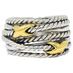 David Yurman Sterling Silver 18 Karat Gold Double X Crossover Ring