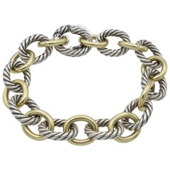 David Yurman Sterling Silver 18 Karat Gold Link Bracelet